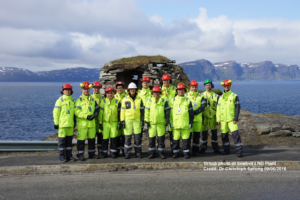 Group photo at Snøhvit LNG Plant, Kevin is on the left. Credit: Dr Christoph Sprung 09/06/2016