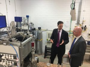 Professor Eric May in the Hydrate lab with Minister L'Estrange, photo credit Mark Stickells