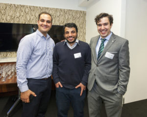 LNG Futures Phd Students Arman Siahvashi (left) and Fernando Perez (right) with their supervisor Dr. Saif Al Ghafri